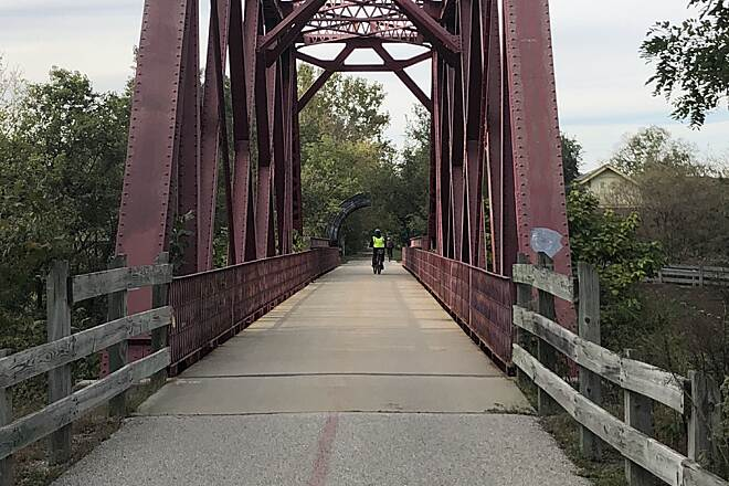 Monon Trail Evidence of the Trail's Railroad Past. An old rail bridge harkens back to the days when the Monon Trail was an actual railroad line.  October 13, 2018.