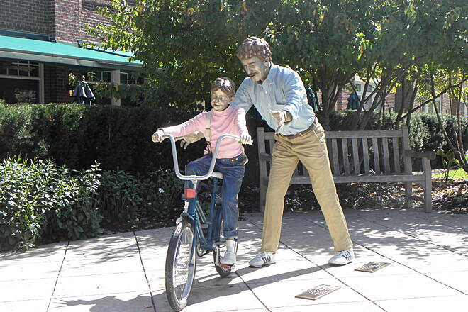 Monon Trail Life-size trail-side sculpture Downtown Carmel