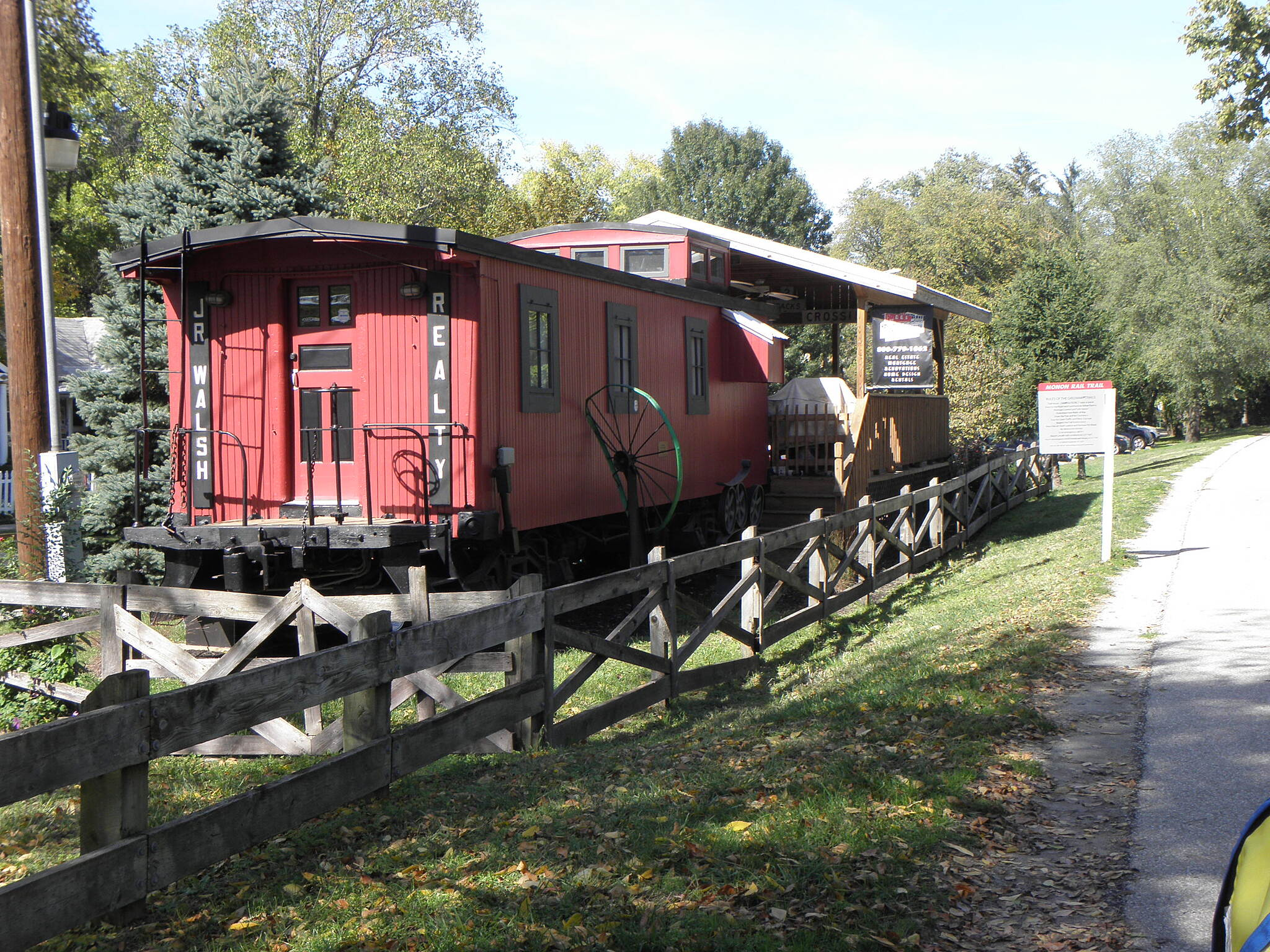 Monon Trail Realty office in a caboose