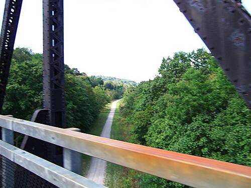 Montour Trail McDonald Trestle Riding across the McDonald trestle, looking down on the Panhandle Trail