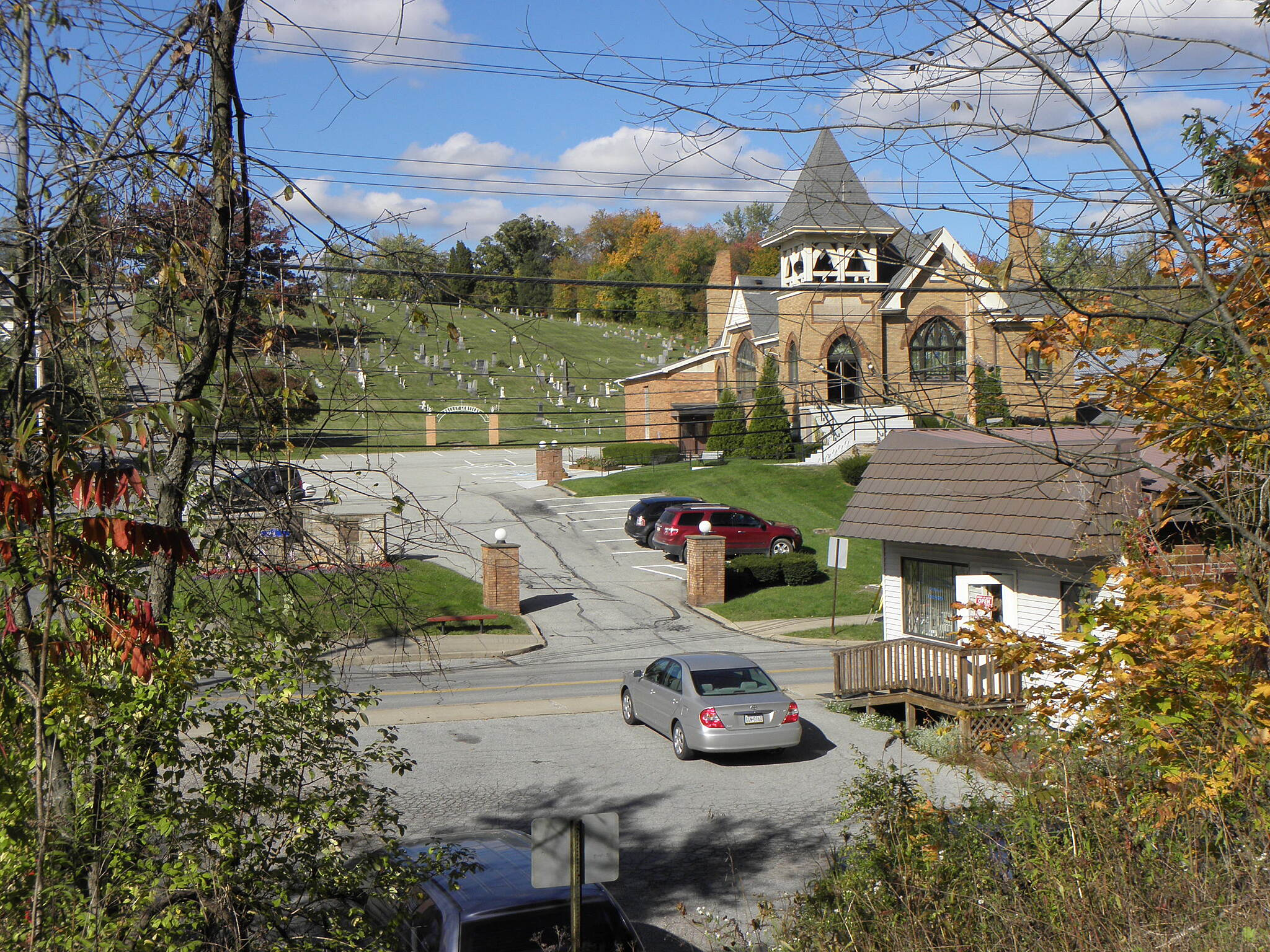 Montour Trail Valley Presbyterian Church and Cemetary in Imperial-Enlow from the trail.