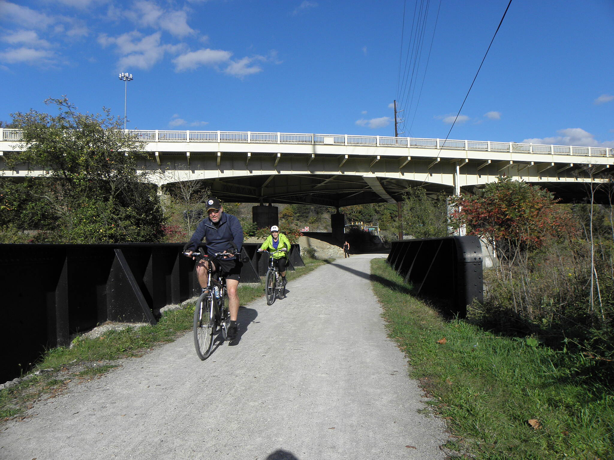 Montour Trail Over and Under Trail goes over a creek and under I-376 (Airport Parkway)