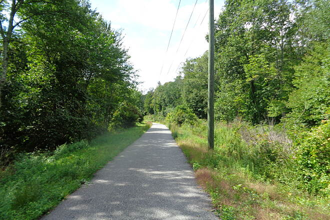 Moosup Valley State Park Trail Looking west nr barber Hill Rd Looking west on the paved section of trail west of Barber Hill Road, Plainfield on 9/8/16