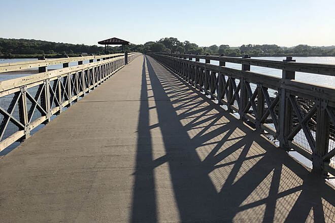 MoPac Trail (Springfield) Lied Pedestrian Bridge Weekday afternoon, looking toward Cass county.