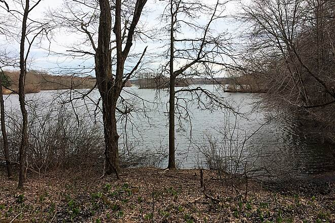 Moraine State Park Bike Trail Lake Arthur Trail follows  Lake Arthur. April, 2019