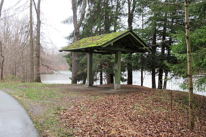 Moraine State Park Bike Trail Shelter along the trail April 2019 a shelter along the trail