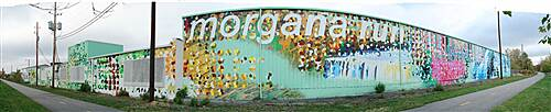 Morgana Run Trail Morgana Run Trail Pixelating Morgana mural, largest public art project in Cleveland located along the Morgana Run Trail