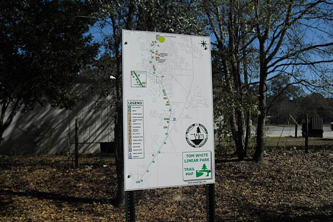 Moultrie Trail Map near parking area Map of the Tom White Linear Park trail.