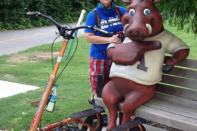 Mud Creek Trail Photo op Just have to stop by the AR Razorback for a photo when you cruise by!