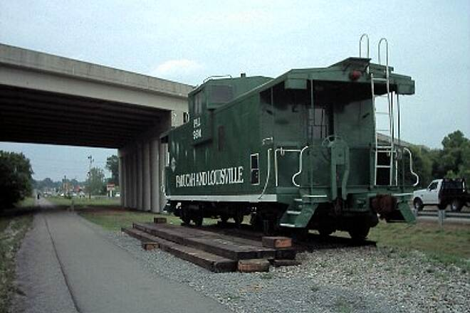 Muhlenberg County Rail-Trail Caboose KY 189 is overhead.
