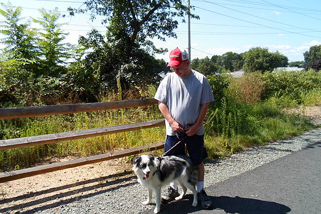 Muhlenberg Rail Trail Muhlenberg Rail Trail A man and his dog enjoying the trail on a spectacular, late summer day. Taken August 2013.