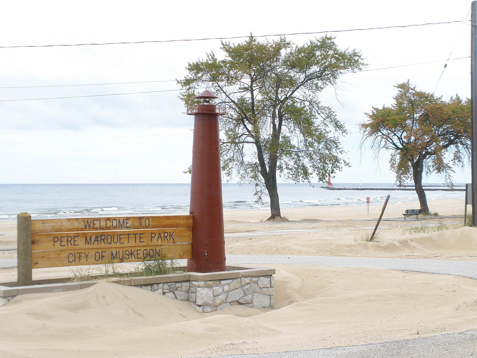 Muskegon Lakeshore Trail Pere Marquette Park at Lake Michigan Rest rooms, concessions, swimming, boat and ship watching.