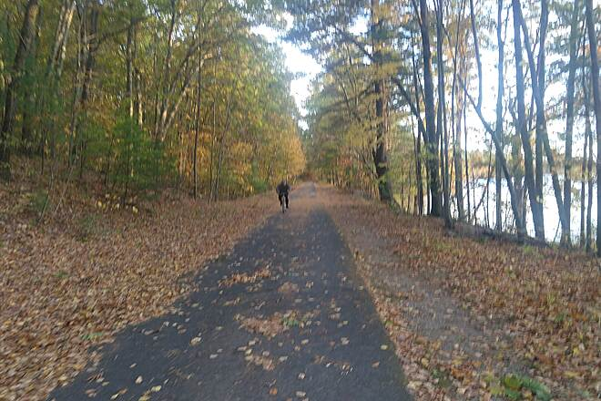 Nashua River Rail Trail Sunset October 18 Leaves covered trail the scent of autumn was in the air