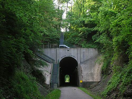 National Road Bikeway  Traveling south, entering the tunnel's northern portal
