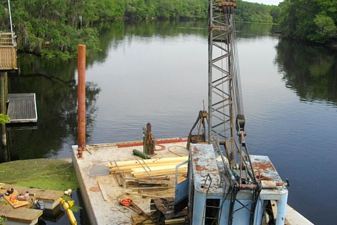 Nature Coast State Trail Barge on the Suwannee River! Workmen say this project should be done in a month. So far, the bridge is open to pedestrian and bike traffic. The gates could be closed at any moment however.