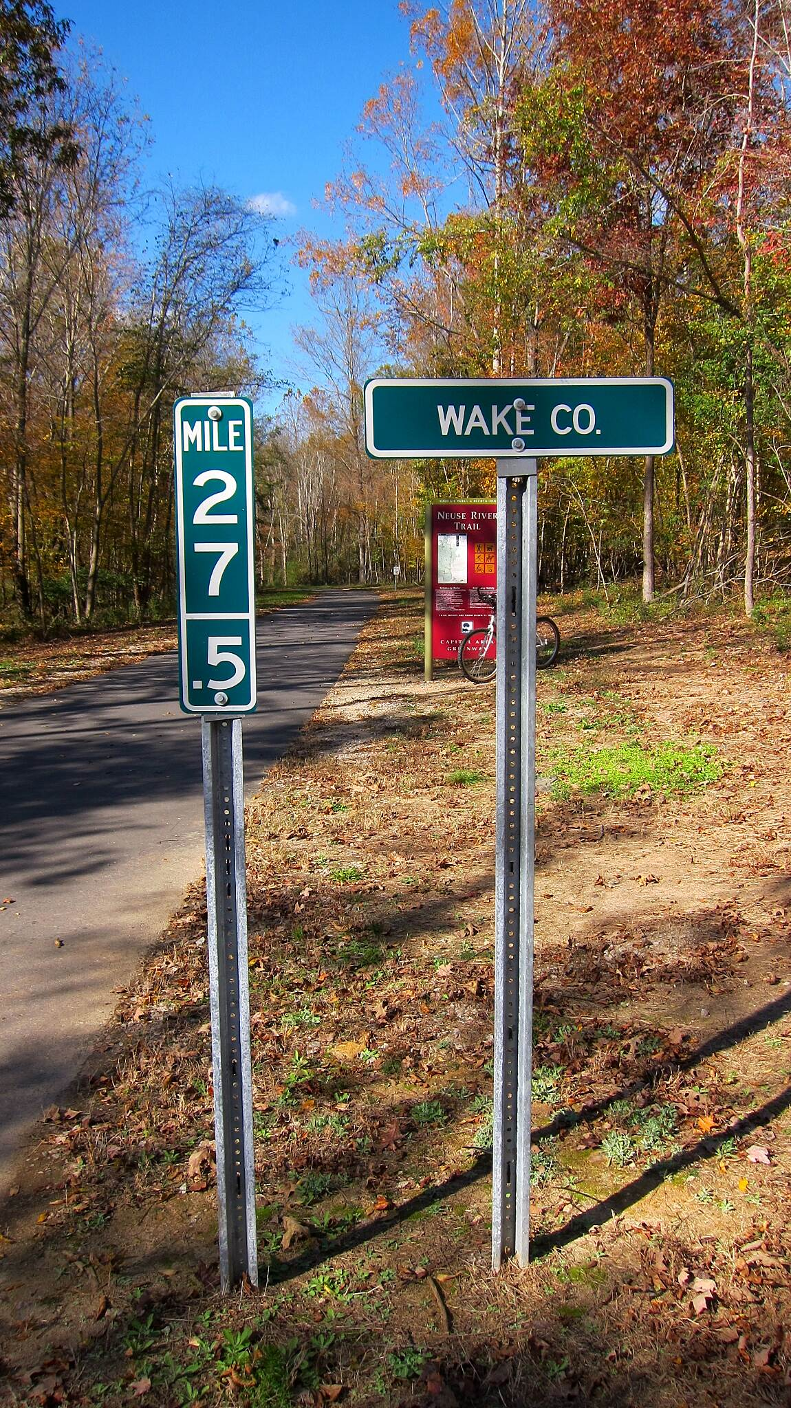 Neuse River Trail .... but not the end! Although the Neuse River Trail 'officially' ends at the Johnson county line... (mile marker 27.5) the trail continues for another 5.32 miles before it dead ends in Clayton N.C.
