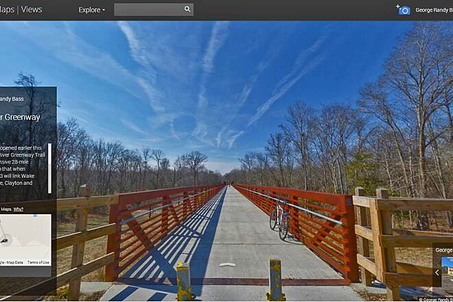 Neuse River Trail Bridge Over Neuse River A 558-foot bridge overlooking the Neuse River. The longest such bridge in the state of N.C. The bridge connects Wake Forest's Smith Creek Greenway to Raleigh's Neuse River Greenway. A 28 mile greenway. View Google Photosphere at http://goo.gl/pQ02Oi