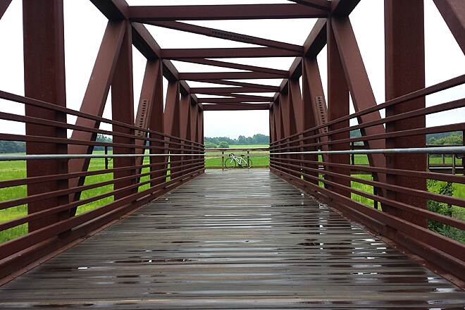 Neuse River Trail On a rainy day... Beautiful view of the fields from the bridge...