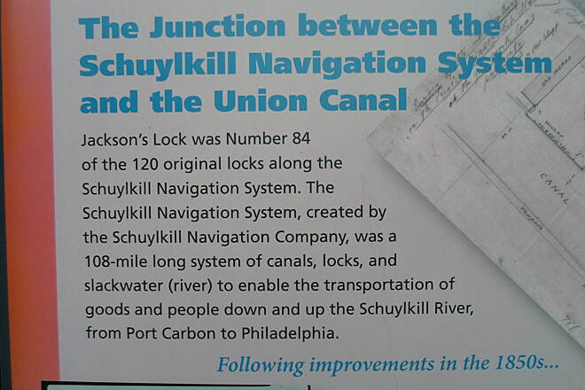 Neversink Connector Trail Neversink Connector Trail Section of the sign explaining the history of Jackson's Lock.
