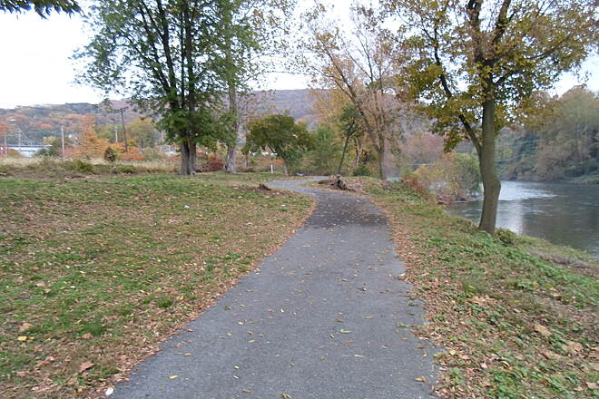 Neversink Connector Trail Neversink Connector Trail Looking south along the river at Heritage Park.