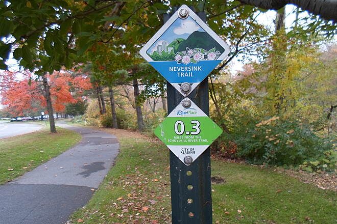 Neversink Connector Trail Neversink Connector Trail The trail has the same small, but colorful signs designating its name, a picture to represent it, and a mile marker that all of the trails in the Greater Reading network feature. This is a nice amenity.