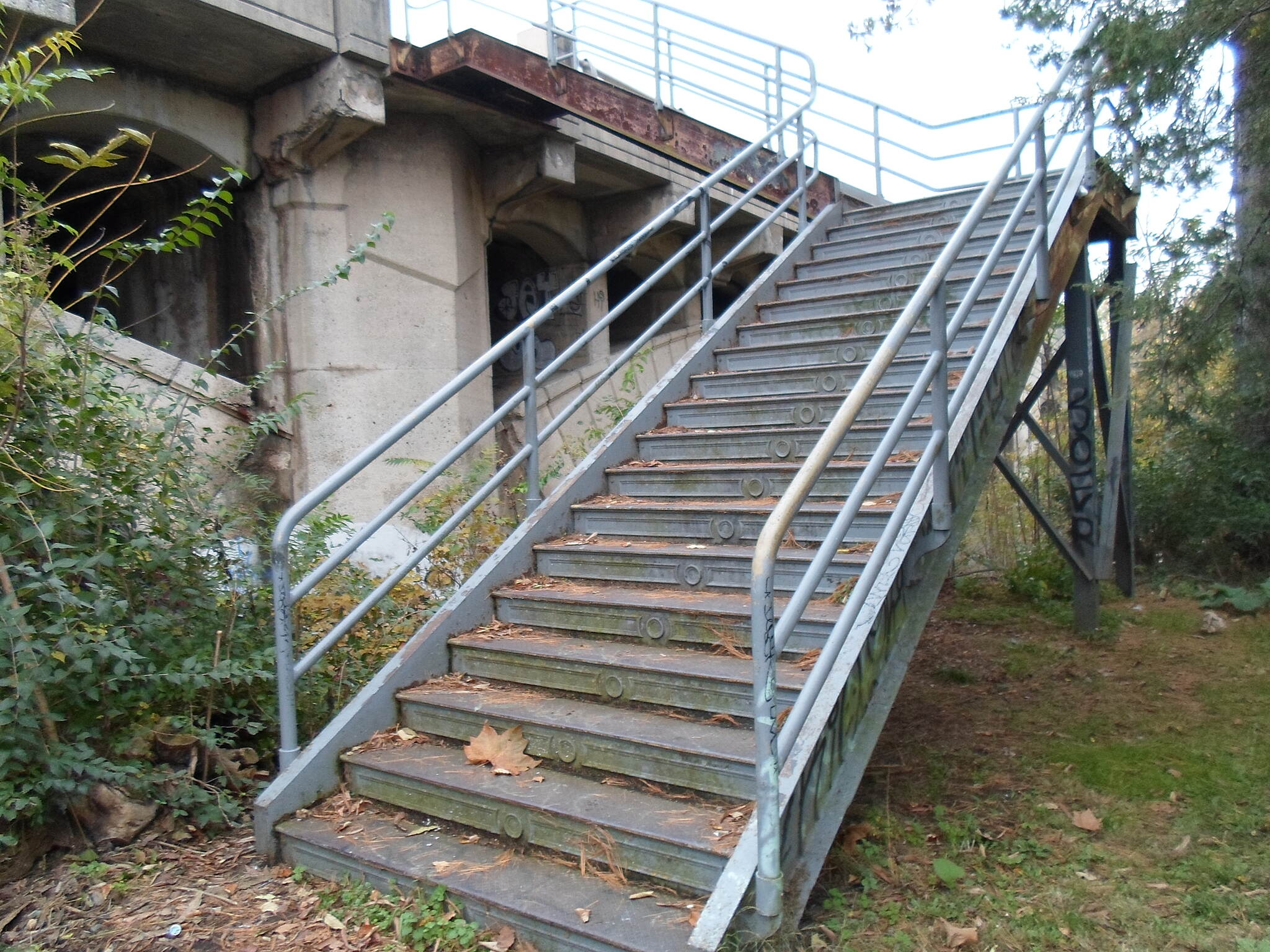 Neversink Connector Trail Neversink Connector Trail Stairway connecting the trail to Lancaster Ave., which crosses on the bridge above. Taken October 2012.