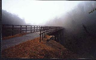 New River Trail State Park Second trestle going south This trestle spans high over road F-047 just after you pass under Interstate 81 and just before mile marker 4.  The morning fog made this a good picture.