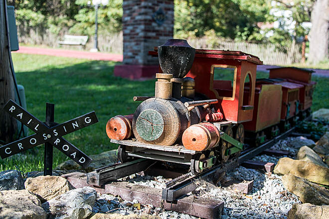 Nickel Plate Trail Miniature Train A pretty cool wooden train somebody made and put along the trail!