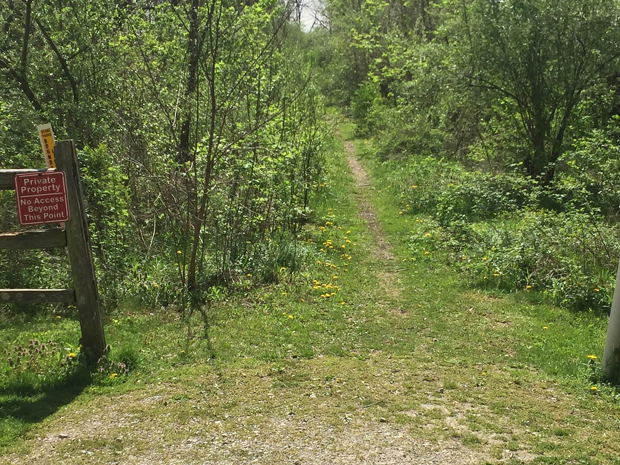 Nickelplate Trail (OH) End of the Line? The trail ends at its current location due to the old rail line entering into privately held land.  April 21, 2017.