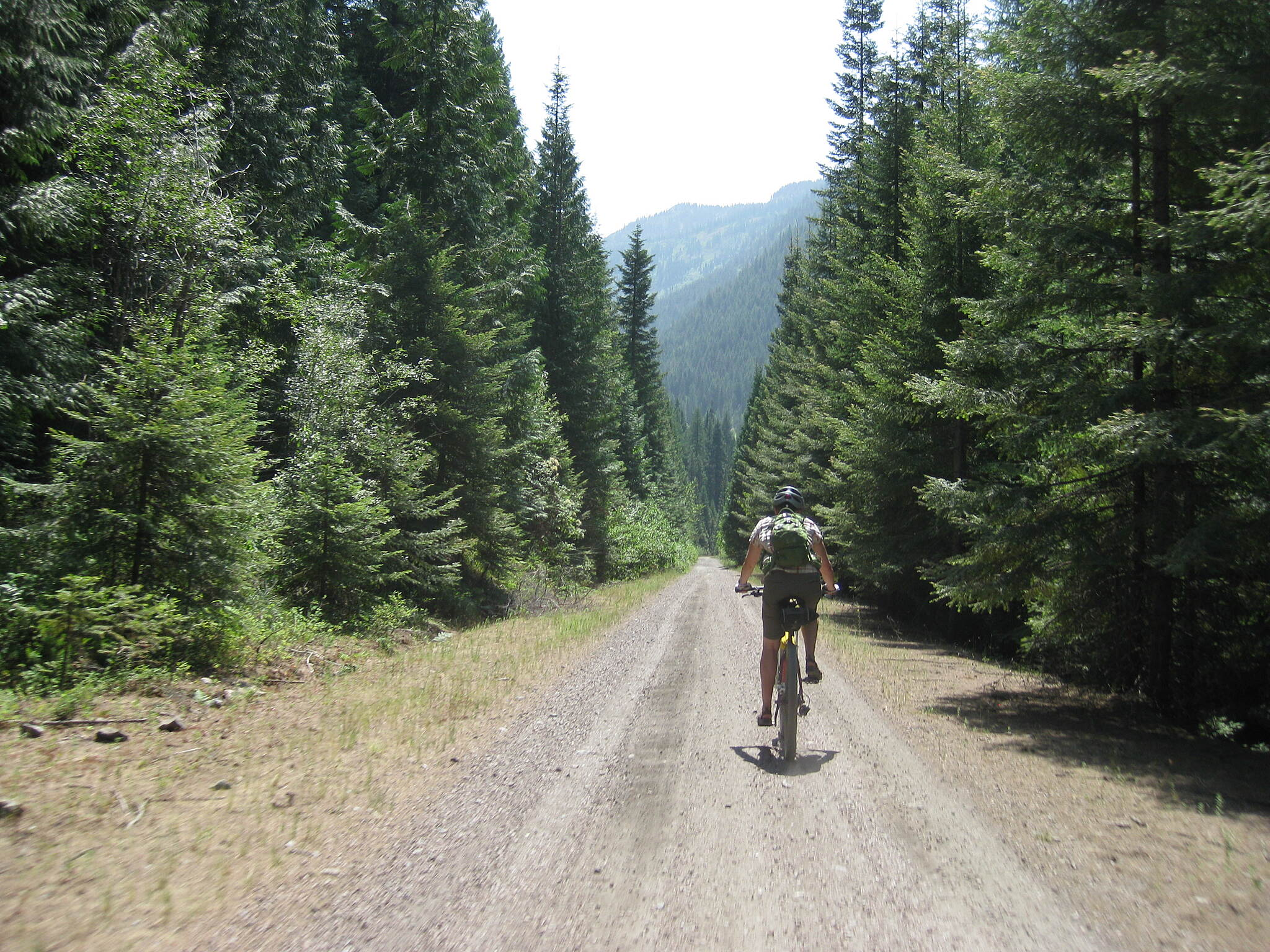 NorPac Trail Cruising back down to Mullan Packed gravel and dirt, good surfaces.