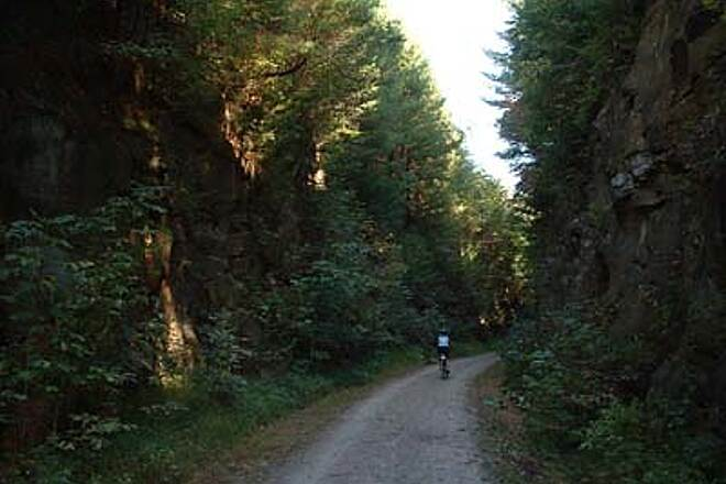 North Bend Rail Trail Rocky Cut The trail passes through rocky cuts numerous tunnels. (10/5/05)
