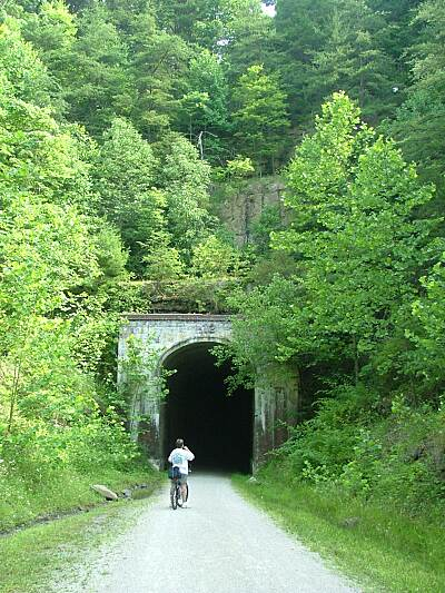 North Bend Rail Trail Tunnel 12 Tunnel 12 heading east from Parkersburg.