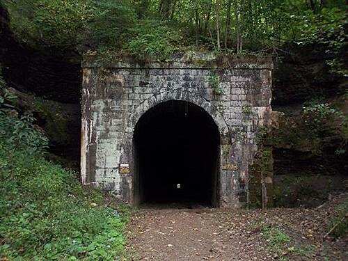 North Bend Rail Trail   The light at end of this tunnel is almost a half mile away.  Tunnel Six is the longest on North Bend Trail
