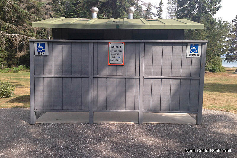 North Central State Trail Restrooms off the trail Rest Area, 7 miles south of Mackinaw City, at Mackinac Straits Roadside Park