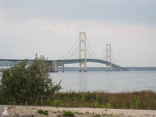 North Central State Trail Mackinaw Mackinac Straits Bridge at north end of trail