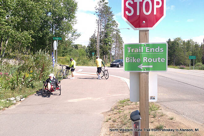 North Western State Trail End  paved section Alanson MI Paved section From Petoskey  to Alanson, MI.