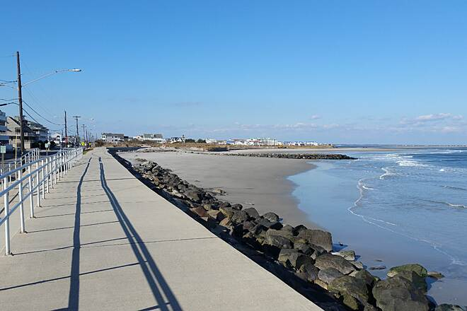 North Wildwood Seawall Trail A Magnificent Day On The Seawall location near E Second Ave on the southern side of trail