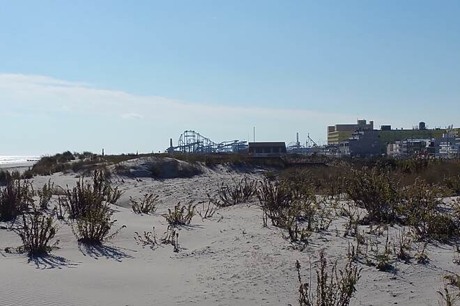 North Wildwood Seawall Trail A November Day In The Dunes Photo was taken near Kennedy Beach Dr. In the background, Wildwood amusement ride
