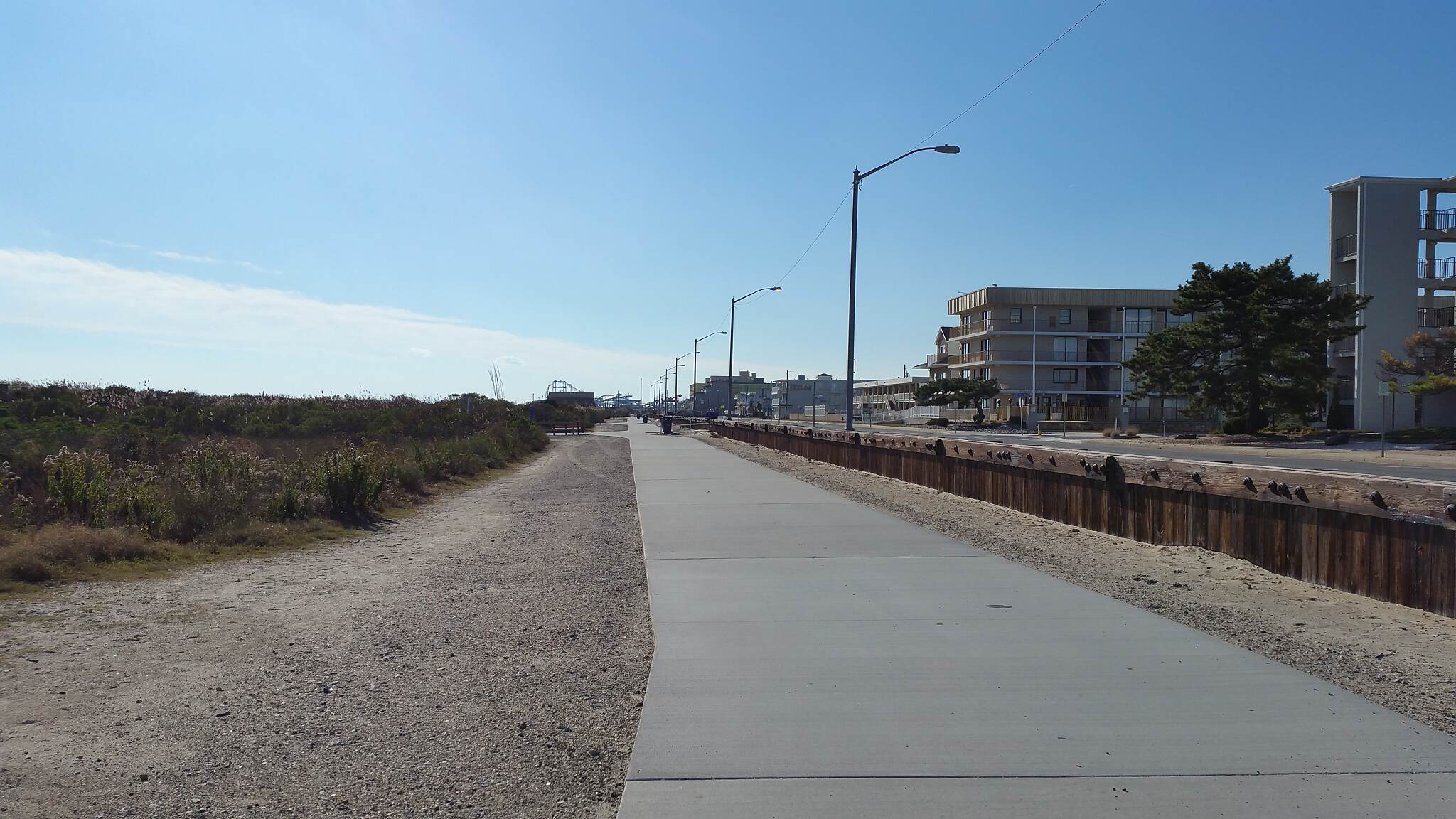 North Wildwood Seawall Trail Concrete Boardwalk A nice strip you can bike on, unlike the seawall. Location Parallel with the ocean near Kennedy Beach Dr.
