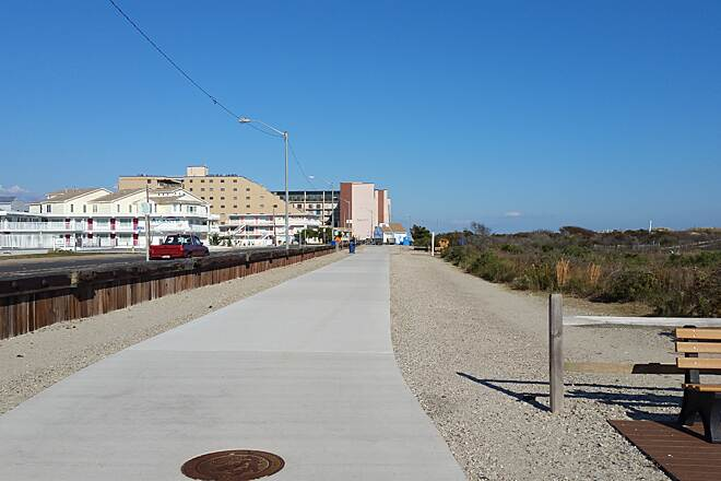 North Wildwood Seawall Trail Concrete Boardwalk Looking North Near Kennedy Beach Dr.  Enjoyable ride,Restroom in the background and Beautiful day in Mid-November
