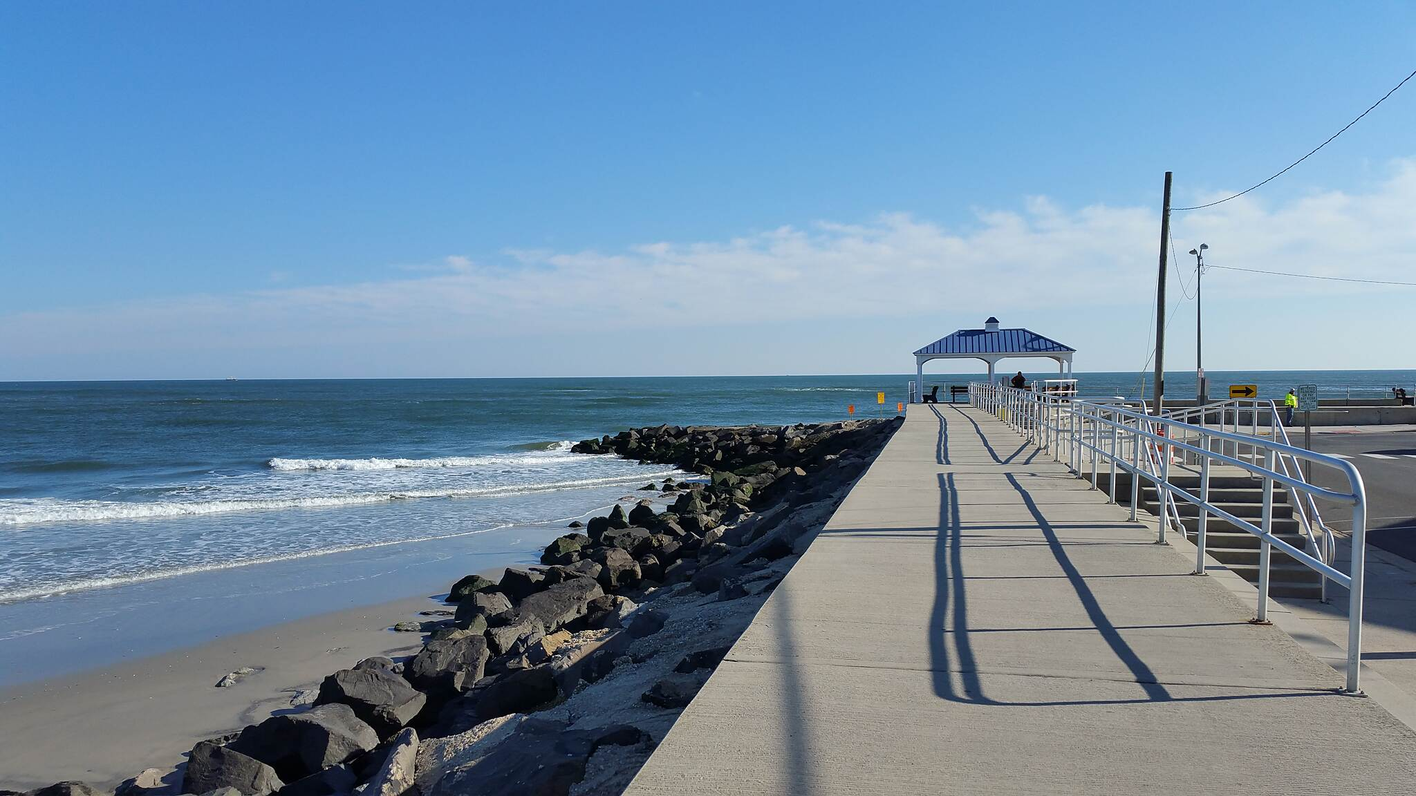 North Wildwood Seawall Trail Crsystal Clear  November Day By The Ocean Location near the end point south, What a site just to sit down and enjoy whats in front of you.