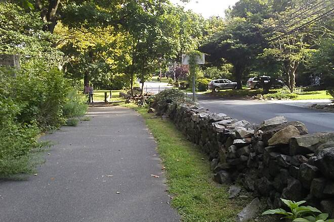 Northern Delaware Greenway Trail Northern Delaware Greenway This stone wall separates the trail from Rockwood Road in the suburbs east of Wilmington.