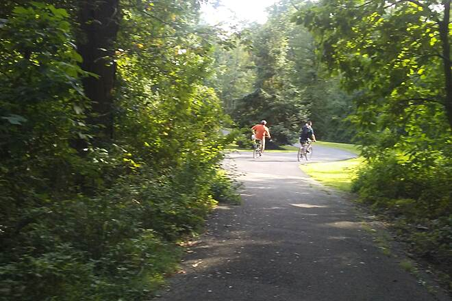 Northern Delaware Greenway Trail Northern Delaware Greenway Cyclists on the trail in Rockwood Park.