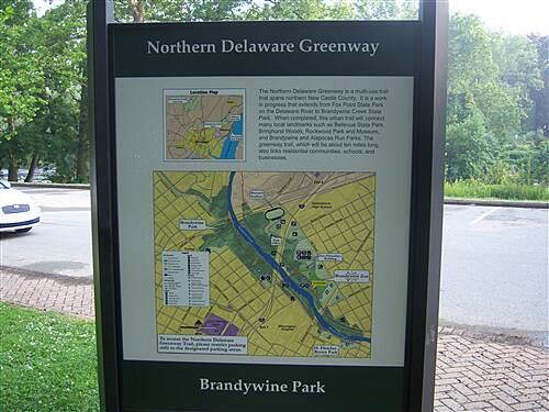 Northern Delaware Greenway Trail Northern Delaware Greenway Sign, complete with map, describing the eventual goal of the project