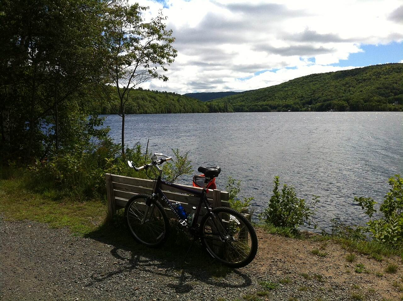 Northern Rail Trail Too chilly to swim Nice day, but windy & cool.  No one on or in the lake.