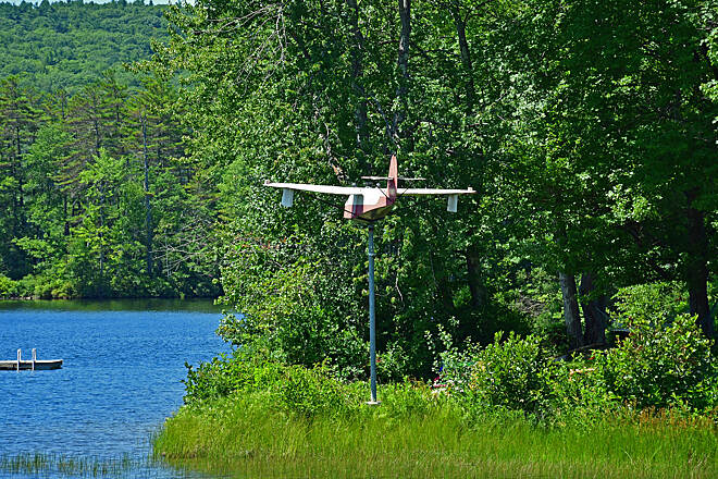 Northern Rail Trail An Airplane Wind Spinner The find of the day. An Airplane Wind Spinner on Highland Lake.
