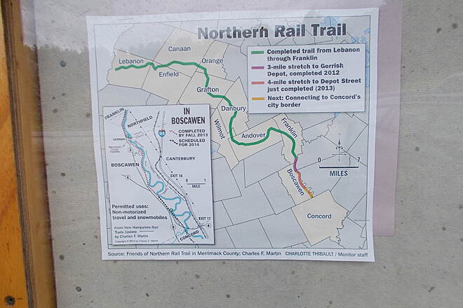 Northern Rail Trail Trail signage in Boscawen Photo by Bob Youker