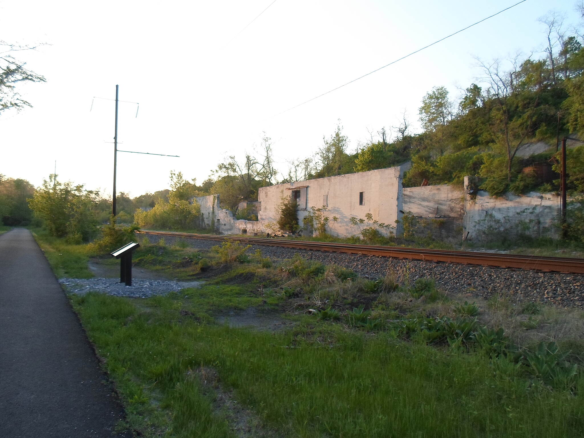 Northwest Lancaster County River Trail Northwest River Trail Looking north along the trail in southern Conoy Twp. The rail line and ruins of the old quarry operations can be seen to the right. Taken May 2015.