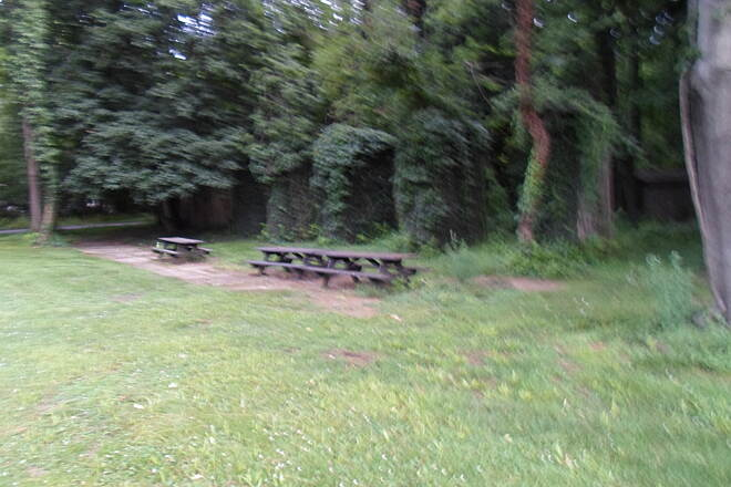 Northwest Lancaster County River Trail Northwest River Trail Look closely at the ruins behind the picnic tables; they were old abutments for a trolley line that once ran from here to the summit of Chickies Rock. Taken June 2015.