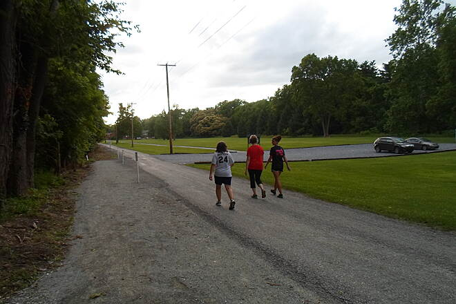 Northwest Lancaster County River Trail Northwest River Trail Trail users hiking along the concurrency with Furnace Road near the Chickies Rock County Park day use area. Taken July 2015.